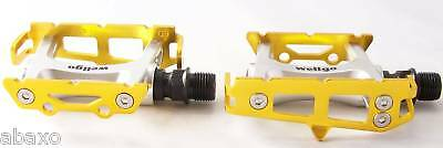 Wellgo R25 Gold /& Silver Bike Pedals Track Fixed Gear Road 9//16/""