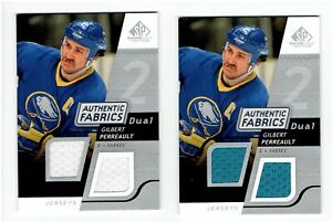 Gilbert-Perreault-2008-09-SP-Game-Used-Dual-Authentic-Fabrics-AFGP-2-Card-Lot