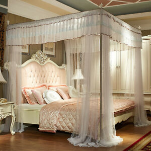 Luxury bed canopy curtain valance lace stainless steel frame bed ...