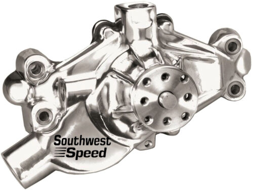 NEW SWS CHROME RACING WATER PUMP,ALUMINUM,SHORT DESIGN,SBC V-8,90 DEGREE V-6
