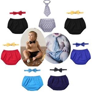 2PCS Baby Boy 1st Birthday Outfit Bloomer Shorts Bowtie Cake Smash Photo Props