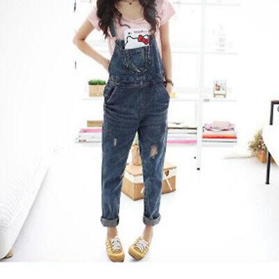 Women Baggy One-Piece Jumpsuits Overalls Denim Jeans Bib Trousers Long Pants