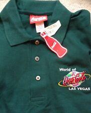 COCA COLA WORLD OF LAS VEGAS EMERALD GREEN GOLF POLO SHIRT MENS MED NWT @LOOK@