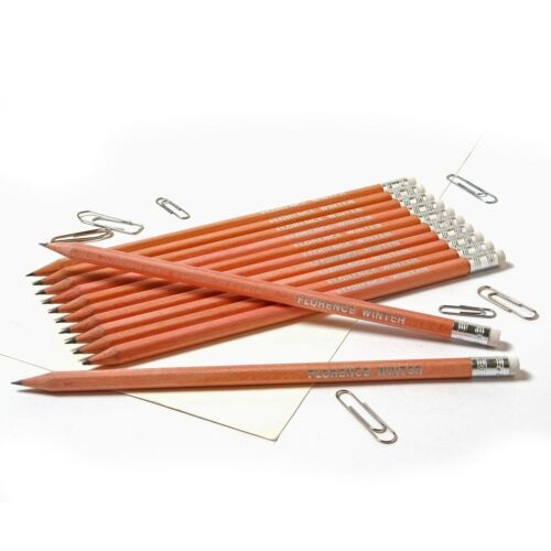 12 Natural Wood Pencils Personalised with Name Quality Printed//Embossed Pencils