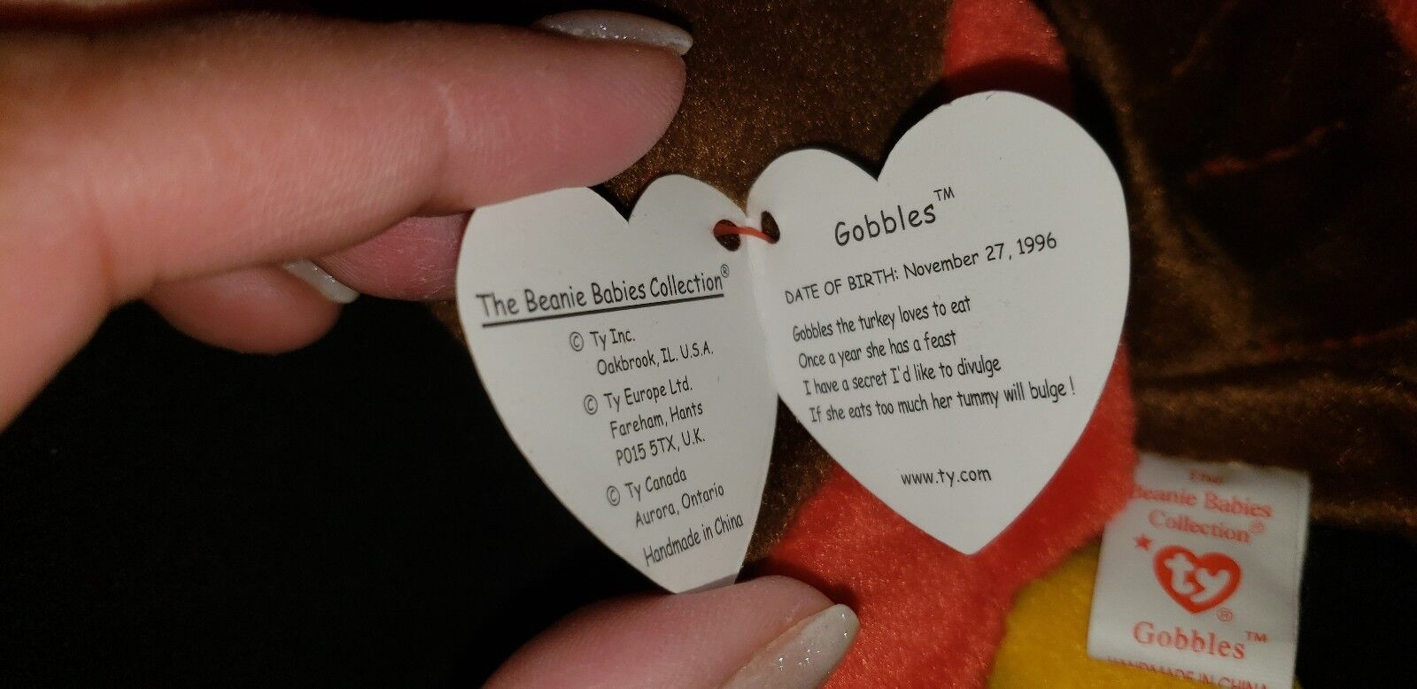RARE THANKSGIVING  GOBBLES  TY BEANIE BABY 1996 1996 1996 TURKEY (RETIRED) MINT CONDITION 3549a9