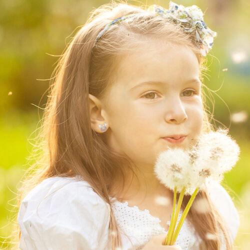 Plaqué Rhodium Sécurité Vis Arrière Rose Cz Souris Bébé Enfants Filles Boucles