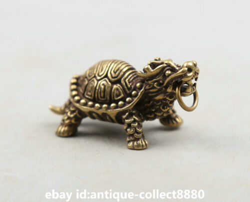 "1.7/"" Curio Chinese Bronze Dragon Tortoise Turtle Rui Beast Animal Small Pendant"
