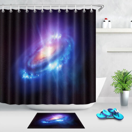 Colourful Spiral Galaxy Space Stars Shower Curtain Liner Waterproof Fabric Hooks