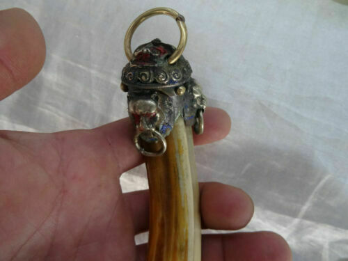 Details about  /Lion a package boar tooth enamel antique town house to ward off bad luck