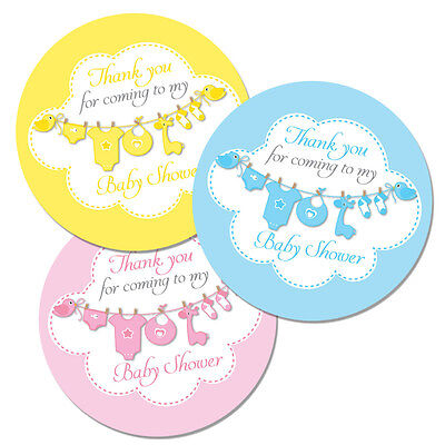 Blue 12 stickers Pink or Yellow for party bags Blue Thank you for coming to my baby shower stickers baby elephant 60mm in diameter