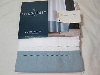 "New Fieldcrest White //Wild Honey Oxford Stitch Fabric Shower Curtain 72/""x72/"" NIP"