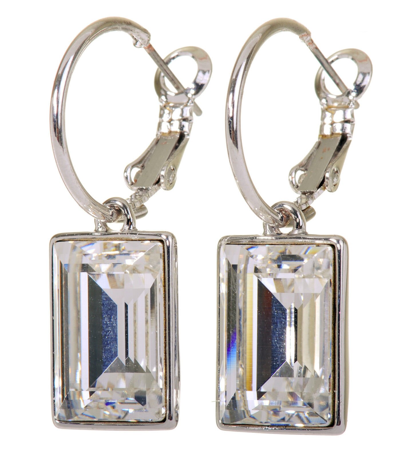 Swarovski Elements Crystal Favor Rectangle Earrings Rhodium Authentic New 7163y