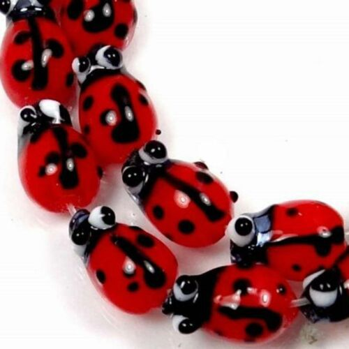 20PCs Ladybug Glass Lampwork Spacers Beads DIY Jewelry Making Acceessories