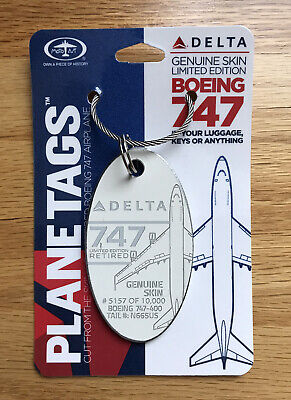 Delta Airlines Planetags Plane Tag Boeing 747-400 Aluminum Skin White N665US