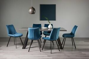 Hirst Grey Painted Glass 6 Seat Table & 6 Fontana Blue Velvet Fabric Chairs