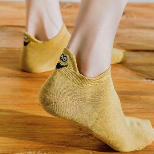 Women Cotton Sock Kawaii Embroidered Expression Socks Ankle Funny Casual SME ua