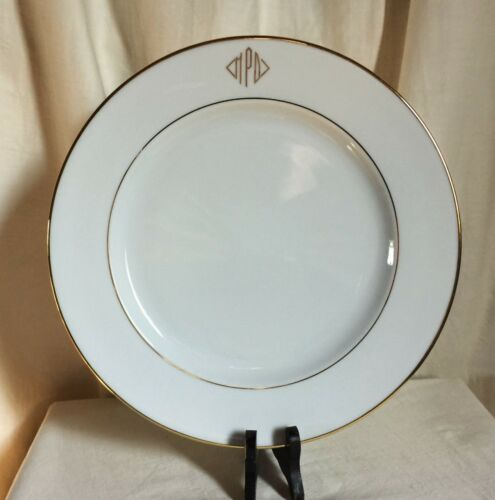 """12/""""d decorated in RSM Italy Chateau Valmont white dinner plate with gold trim"""