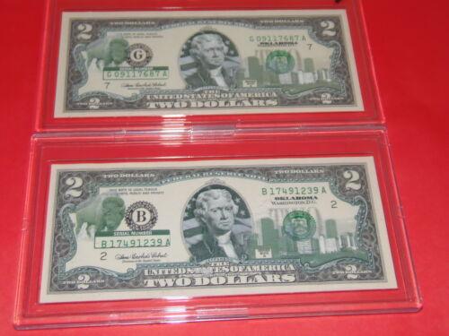 "CHOICE OF 1-2003 US STATE $2.00 BILL /"" OKLAHOMA /"" IN HARD ACRYLIC HOLDER"