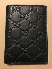 GUCCI Men's classic soft black guccissima leather card case Made in ITALY