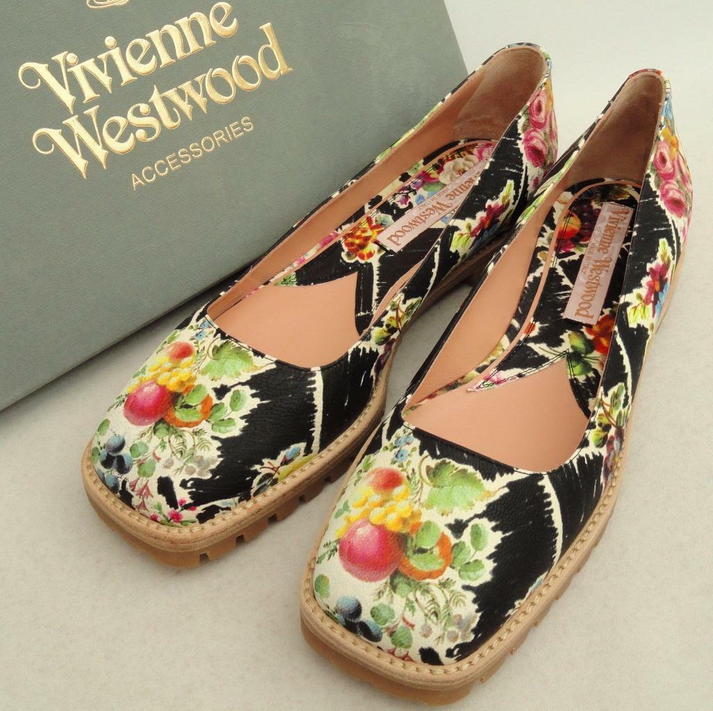 Vivienne Westwood FLOREALE LEATHER FLATS SHOES UK5/EU38, rrp450GBP