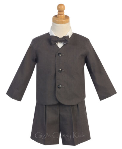 New Baby Toddler Charcoal Boys Suit Set Eton Shorts Wedding Easter Party G828