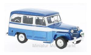clc261-Ixo-JEEP-WILLYS-Station-Wagon-metallico-Blu-Bianco-1960-1-43