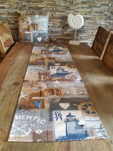 NEU Tischläufer Vogel Maritim Anker Baumwollmischung Handarbeit