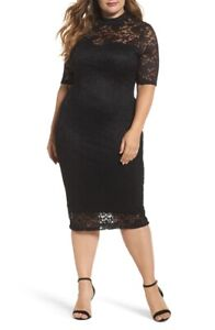 Soprano-Women-039-s-Black-Flirty-Lace-Body-Con-Midi-Dress-Plus-Size-XXX-Large