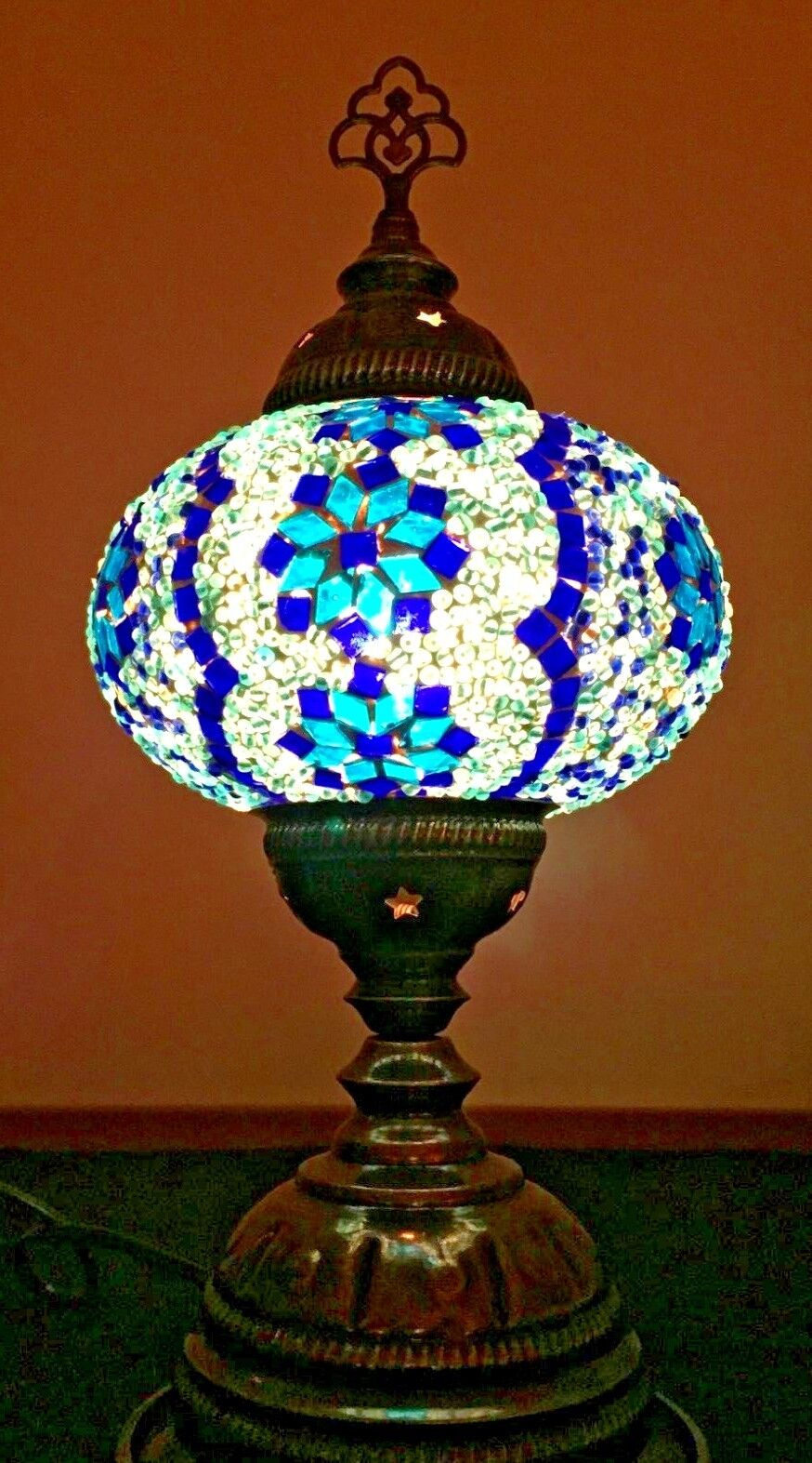Mosaic Table Lamp Stained Glass Turkish Moroccan Light Hand Made Blue Teal 3star For Sale Online