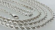 echt Silber 925 Kordel kette Sterlingsilber Damen Collier Herren Halskette 51cm
