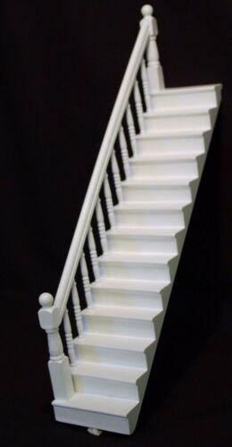 Échelle 1:12 peint en blanc en bois escalier Case /& Gauche Bannister tumdee maison de poupées