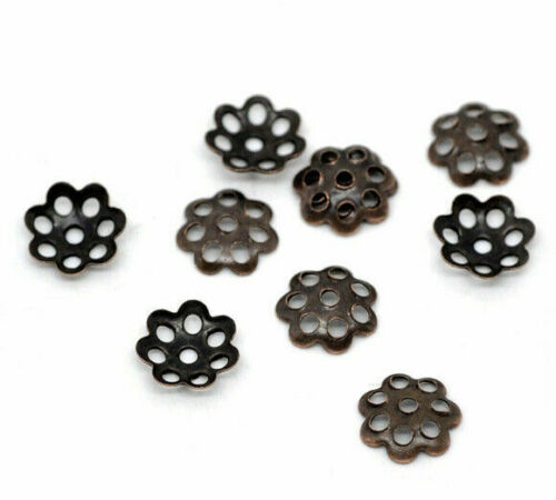 Fits 8mm-14mm Beads 6mm x 6mm 150 Filigree Beads Caps Flower Antique Copper