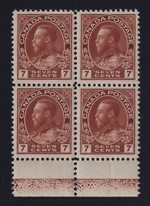 Canada-Sc-114-1924-7c-red-brown-Admiral-LATHEWORK-Block-Mint-VF-NH