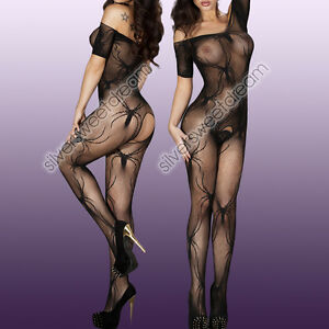 CATSUIT-BODYSTOCKING-SEXY-HOT-LINGERIE-FULL-BODY-CALZE-RETE-APERTA-MEDIAS-DONNA