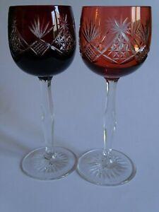 2 Anciens Verres A Vin De Couleur Roemer Rouge Orange Ht 19,5 Cm