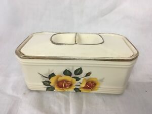 Retro-Vintage-Sadler-Lidded-Butter-Dish-Floral-Decoration-Yellow-Roses-amp-gilding