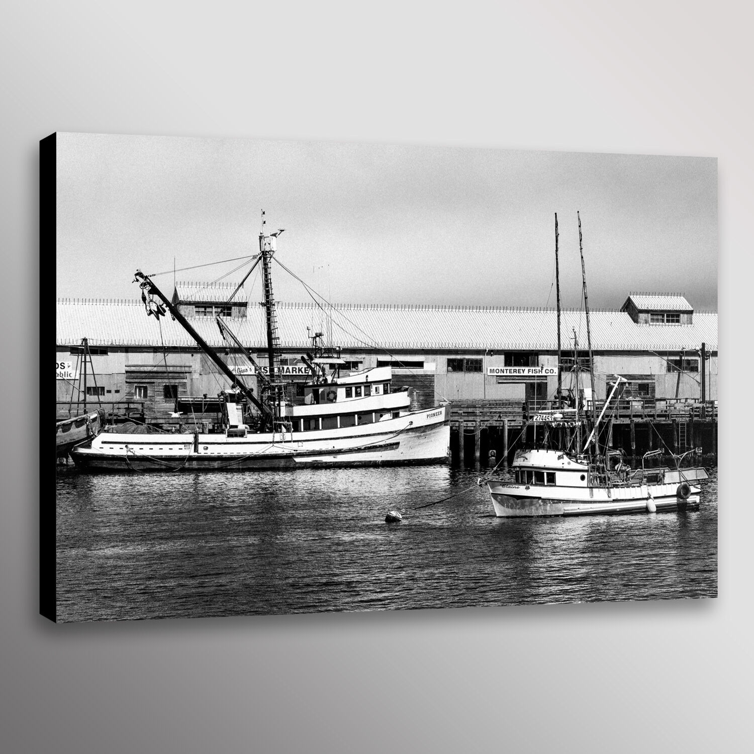 Monterey Bay Fishing Boats Cannery Photo Print Wall Art Canvas