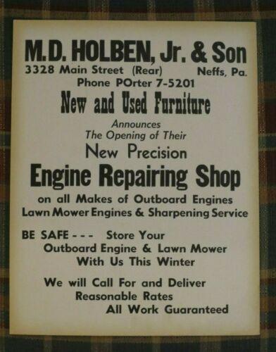 Vintage M D HOLBEN /& Sons Furnature /& Outboard Engine Repair Shop Sign NEFFS Pa