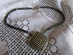 Black-Stone-Bead-2-Strand-Necklace-with-Fixed-Square-Pendant-18-20-034-long