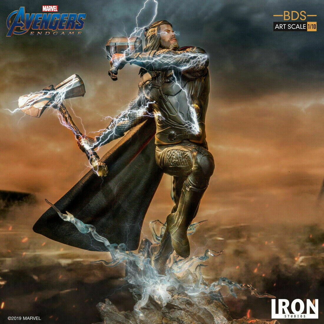 Estudios De Hierro 1 10 estatua de Thor STORMBREAKER ROMPE TORMENTAS & Hammer Vengadores Tacho figura