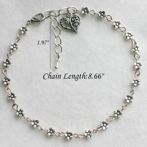 Charm-Silver-Plated-Daisy-Chain-Flower-Anklet-Ankle-Bracelet-beach-foot-Jewelry