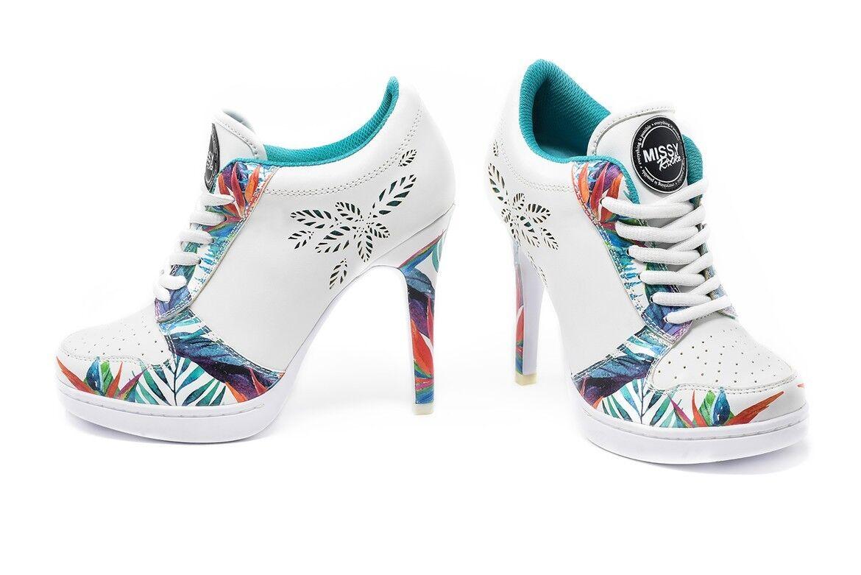 MISSY MISSY MISSY ROCKZ Sneaker High Heels JUNGLE LOVE weiß/ bunt mit 10,5 cm Absatz d999ce