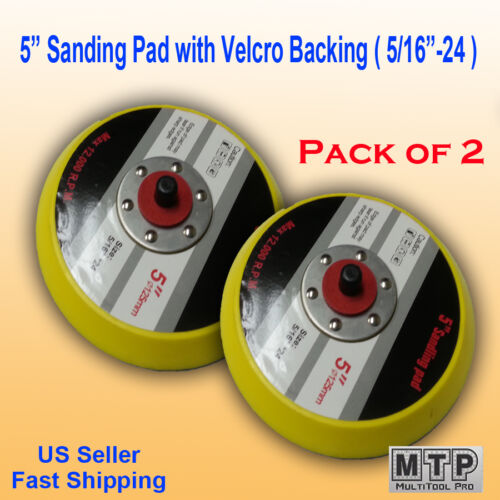 "2x 5/"" Hook /& Loop Sanding Pad 5//16 24 TPI Thread DA Sander Grinder Polishing Air"