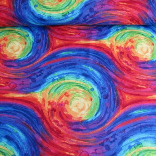 PAINTED SWIRL fantasy multi colour print 100/% cotton fabric Timeless Treasures