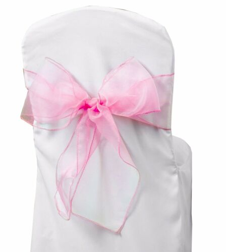 LIGHT PINK ORGANZA SASHES Chair Fuller Bow Wider Decoration Cover Anniversary UK