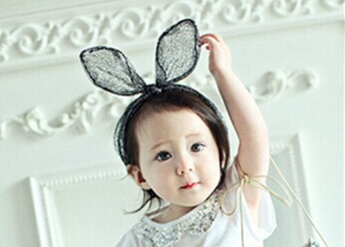 Lady Girl baby kids Black Lace Kitty Cat bunny Ears Hair Headband Costume PROP