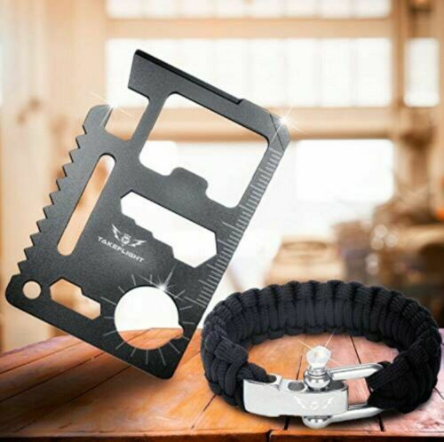 TAKEFLIGHT Multi Tool Everyday Carry Survival Kit Tactical Gear Paracord Black