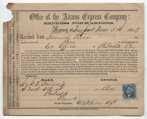 1863-Adams-Express-Company-document-with-imperf-2ct-express-R9a-EMU-y2780