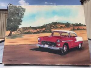 Vintage-Red-Chevrolet-Painting-by-Mary-Helen-Stovall-wife-of-Vern-Stovall