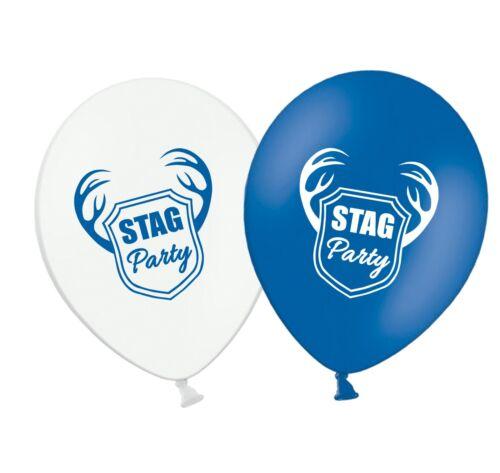 """Stag Party 12/"""" blanco y azul impresa Surtido de globos de látex Paquete de 6"""